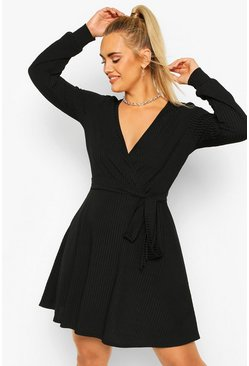 Plus Jumbo Rib Wrap Skater Dress, Black