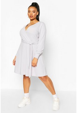 Plus Jumbo Rib Wrap Skater Dress, Silver grey