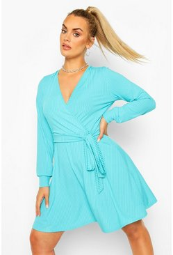 Teal Plus Jumbo Rib Wrap Skater Dress