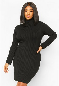 Black Plus Jumbo Rib High Neck Bodycon Dress