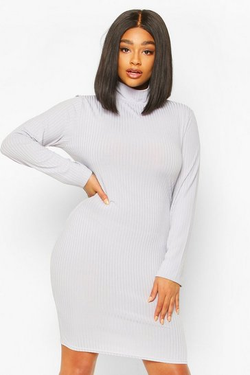 Silver grey Plus Jumbo Rib High Neck Bodycon Dress