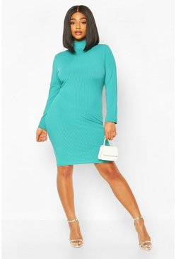 Plus Jumbo Rib High Neck Bodycon Dress, Teal