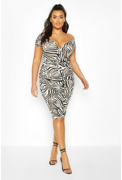 Plus Zebra Wrap Belted Midi Dress, Black