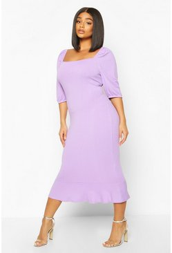 Lilac Plus Jumbo Rib Puff Sleeve Peplum Hem Midi Dress
