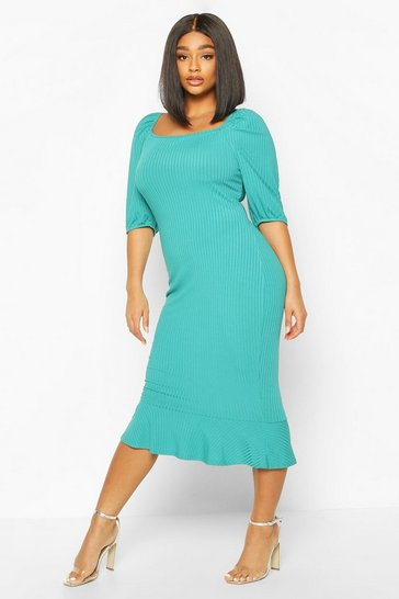 Teal Plus Jumbo Rib Puff Sleeve Peplum Hem Midi Dress