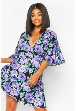 Plus Floral Angel Sleeve Skater Dress , Purple