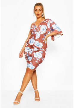Plus Floral Asymetric Sleeve Ruched Midi Dress, Chocolate