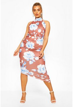Plus Floral High Neck Midi Dress , Chocolate