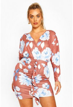Plus Floral Wrap Front Mini Dress, Chocolate