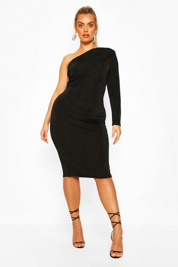 Black Plus Textured Ruched One Shoulder Midi Dress