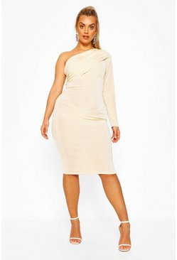 Plus Textured Ruched One Shoulder Midi Dress, Champagne