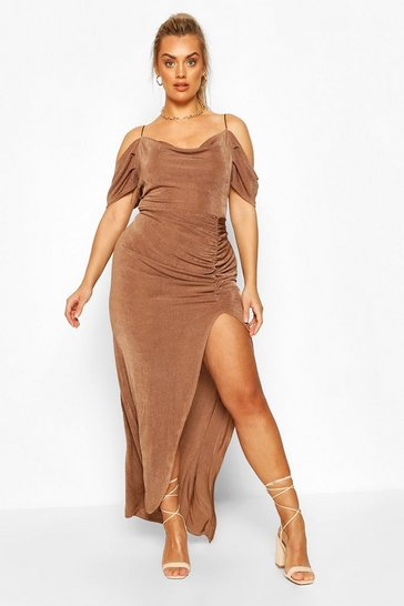 Mocha Plus Textured Slinky Open Shoulder Cowl Maxi Dress
