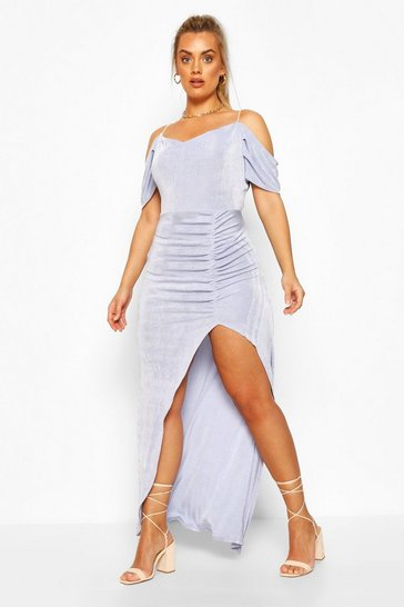 Sky Plus Textured Slinky Open Shoulder Cowl Maxi Dress