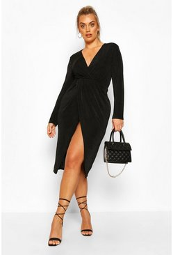 Black Plus Textured Slinky Twist Detail Wrap Midi Dress