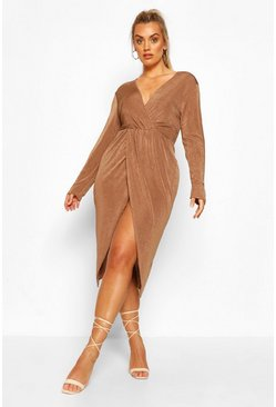Mocha Plus Textured Slinky Twist Detail Wrap Midi Dress
