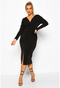 Black Plus Textured Slinky Wrap Front Midaxi Dress