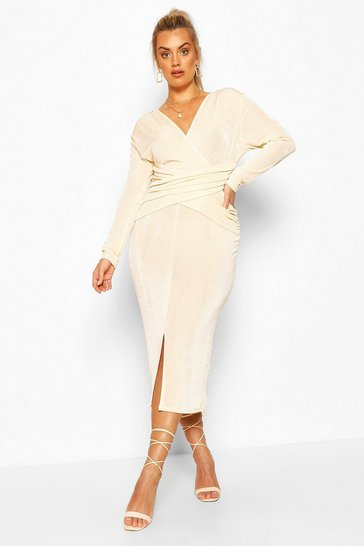 Champagne Plus Textured Slinky Wrap Front Midaxi Dress