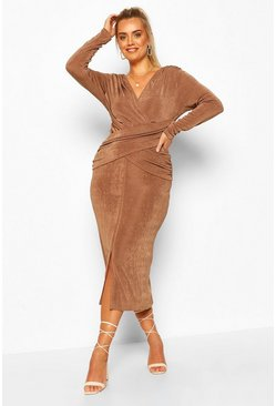 Mocha Plus Textured Slinky Wrap Front Midaxi Dress