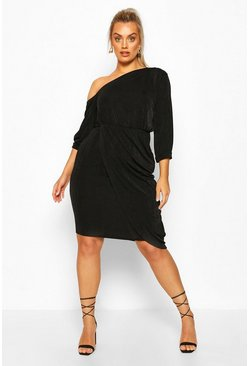 Black Plus Textured Slinky Neck Midi Dress