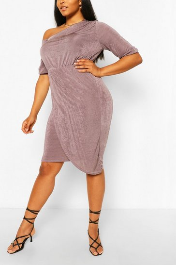 Charcoal Plus Textured Slinky Neck Midi Dress