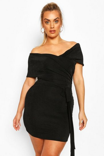 Black Plus Textured Slinky Bardot Wrap Dress