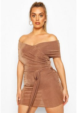 Plus Textured Slinky Bardot Wrap Dress, Mocha