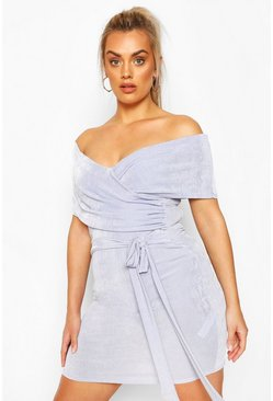 Sky Plus Textured Slinky Bardot Wrap Dress