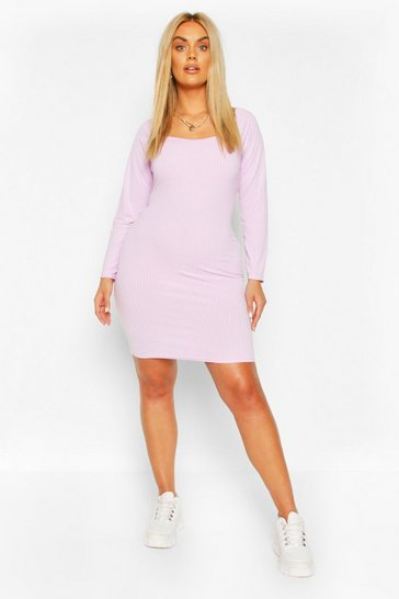 Lilac Plus Jumbo Rib Bodycon Dress