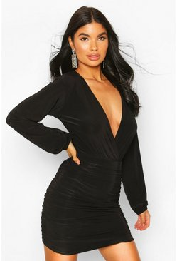 Black Petite Ruched Slinky Mini Skirt