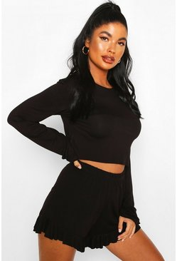 Black Petite Long Sleeve Frill Short PJ Set