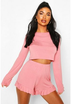 Blush Petite Long Sleeve Frill Short PJ Set