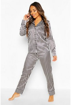Petite Satin Stripe PJ Trouser Set, Black