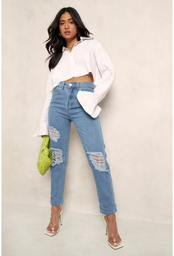 Light blue Petite Mid Rise Distressed Boyfriend Jeans
