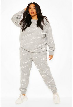 Grey marl Plus All Over Woman Print Sweat Tracksuit
