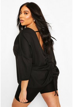 Black Plus Ruched Back Oversized Sweat Top