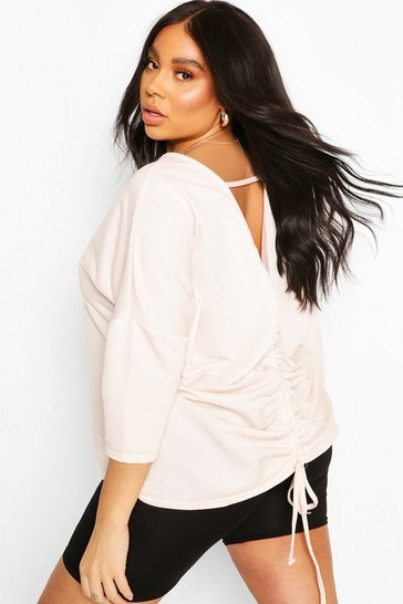 Blush Plus Ruched Back Oversized Sweat Top