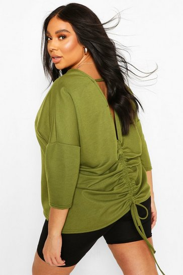 Khaki Plus Ruched Back Oversized Sweat Top