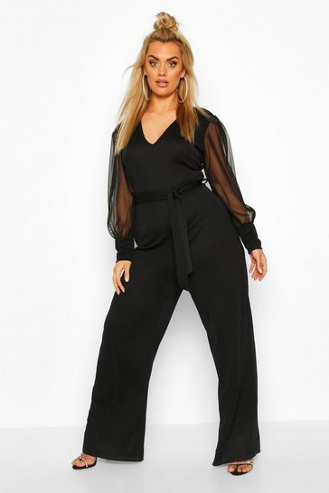 Black Plus Plunge Organza Sleeve Wide Leg Jumpsuit