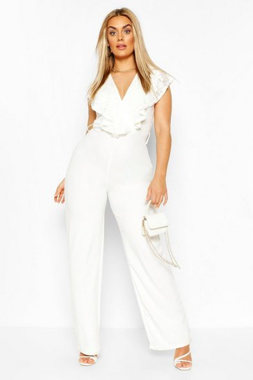 Ivory Plus Lace Ruffle Wrap Wide Leg Belted Jumpsuit