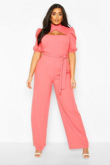 Coral Plus Choker Cut Out Puff Sleeve Jumpsuit