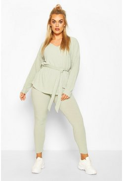 Sage Plus Soft Rib Tie Waist Rope Legging Co-ord