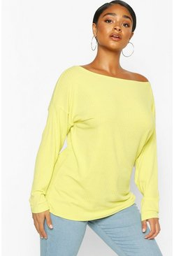 Lime Plus Oversized Rib Longsleeve T-Shirt