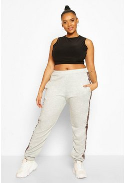Grey Plus Leopard Side Stripe Jogger
