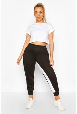 Black Plus Inside Side Stripe Jogger