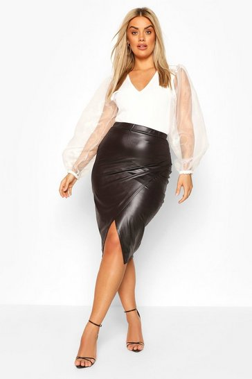 Black Plus Pu Wrap Midi Skirt