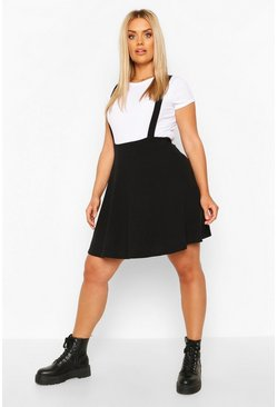 Black Plus Soft Rib Pinafore Skirt