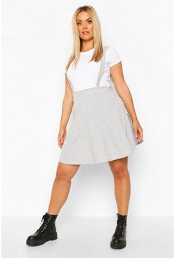Grey marl Plus Soft Rib Pinafore Skirt