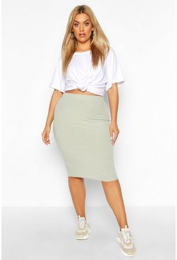 Sage Plus Soft Rib Midi Skirt