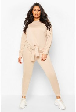 Stone Plus Loopback Knot Front Sweat & Jogger Set
