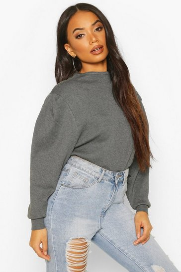 Grey marl Petite Volume Sleeve Jumper